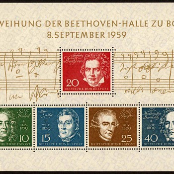 "1959 - German ""Beethoven Hall"" Souvenir Sheet"