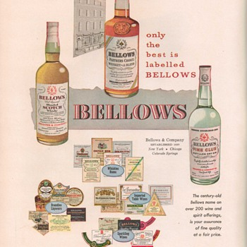 1950 Bellows Spirits Advertisement