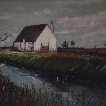"""Fishing Hut On The Ebro Delta""""Spain"""" Mickey Katz,XX Century painting on canvas. - Visual Art"""