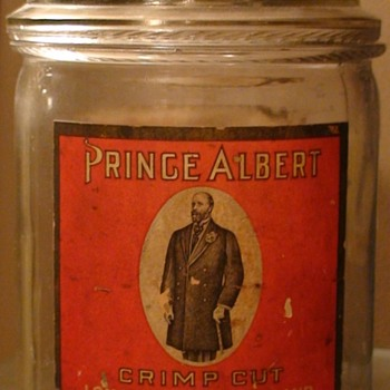 """Prince Albert"" Glass Tobacco Container Circa 1910 (?) - Tobacciana"