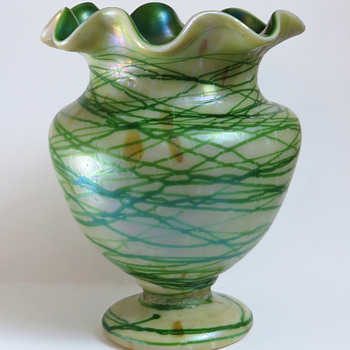 Bohemian Iridescent Opal and Green Threaded Vase