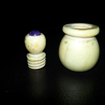 Ivory vial with amethyst top