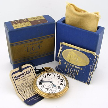 Elgin B.W. Raymond w/ Original Box & Papers - Pocket Watches