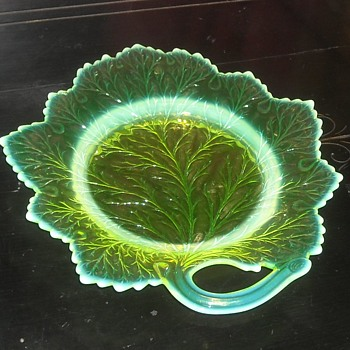 Vaseline Glass Leaf Shaped Plate - Glassware