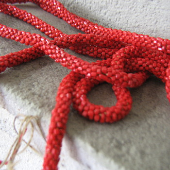 "Red Czech glass? 60"" crocheted rope - Costume Jewelry"