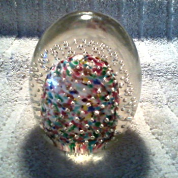 Controlled Bubble Paperweight / Unknown Maker and Age