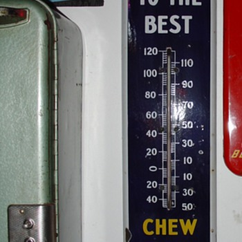1930's...Treat Yourself To The Best...Chew Mail Pouch Tobacco...Porcelain Thermometer...Three Colors - Signs