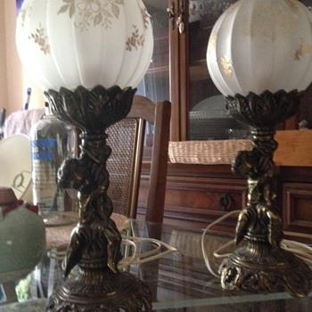 Vintage Cherub  Lamps