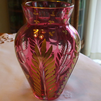 Cranberry Cut to Clear & Richly Gilded MOSER? VASE - Art Glass