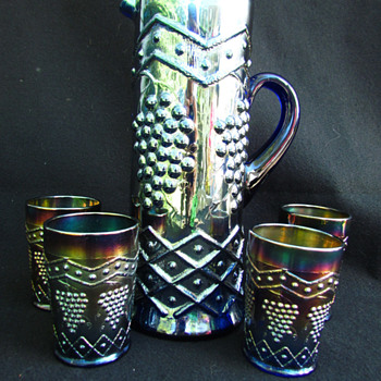 Fenton- Lattice & Grape Water Set - Blue !! - Glassware