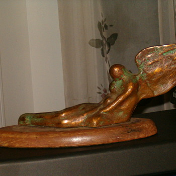 "Art Deco Bronze Myth Creature Sculpture,""In The Arms Of Morpheus"" By Amelia"