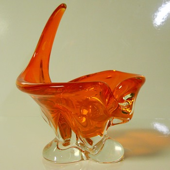 Orange Bowl AKA Ashtray,  Chalet Canada, Happy New Year, My CW Friends - Art Glass