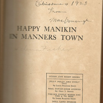 "1920's Childs book "" Happy Manikin in Manners Town"" - Books"