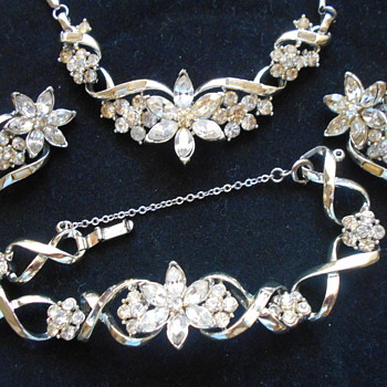1950's Coro Rhinestone Flower set - Costume Jewelry