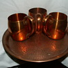 "Antique West Bend Solid Copper Mugs & ""Hammered"" Solid Copper Tray"