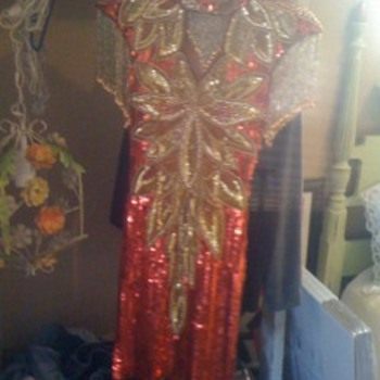 beaded vintage red and gold fashion dress
