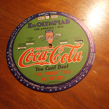 1932 Coca-Cola Xth Olympiad Indicator Wheel
