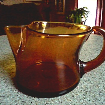 Amber Art Glass Pitcher-Creamer / Hand Blown Unique Design/ Unknown Maker and Age - Art Glass