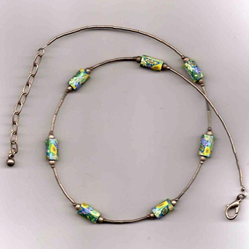 Tube Bead and Floral Necklace - Costume Jewelry