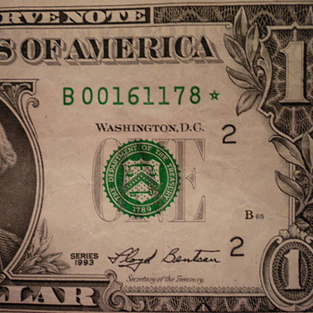 1993 One dollar Star bill
