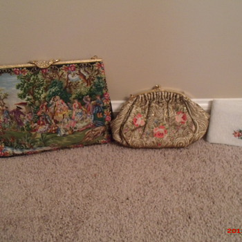 Petit Point Walborg purse, Josef beaded purse, Schildkraut Bros. beaded wallet - Accessories