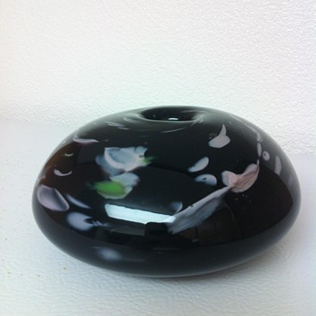 Black Amethyst Round Millefiori Vase? - Art Glass