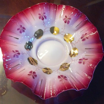 Opaline Glass hand painted Gold Leaf Ruffled Bowl