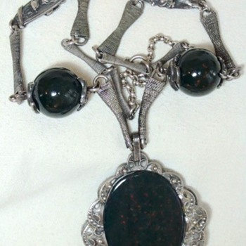 Egyptian? Large Bloodstone Pendant Silver Necklace