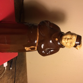 Monk wearing fez decanter  sticker on side  Germany