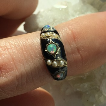 Victorian 14k enamel, seed pearl, and opal ring