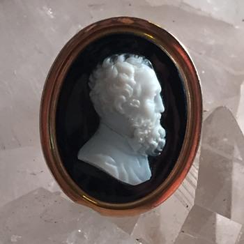 Victorian hard stone portrait cameo ca 1866