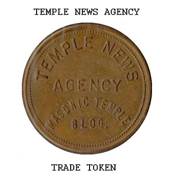 "1960's - ""Temple News Agency"" Trade Token - US Coins"