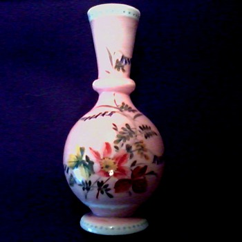 """Pretty in Pink""  7"" Bristol Glass Vase / Hand Painted Flowers on  Pink-White Glass /Circa 19th Century"