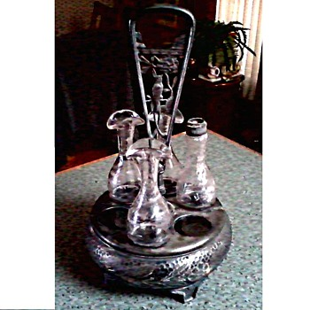 "Victorian Quadruple Silver Plate ""Cruet Set"" / Meridian Britannia Silver Co./ Circa 1852-78 - Victorian Era"