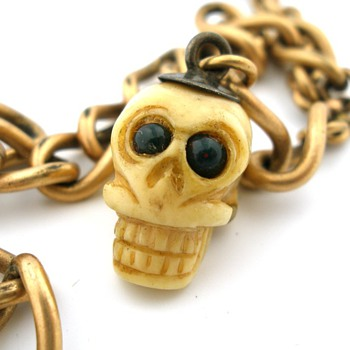 Antique Pocket Watch Chain w/ Skull Fob