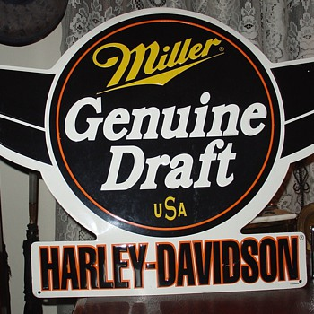 Miller Genuine Draft...USA...Harley-Davidson...Embossed Tin Sign - Breweriana