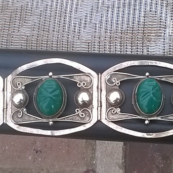 beautiful,rare,Vintage, Hand crafted, Taxco Silver Bracelet 4 panels with carved masks - Sterling Silver