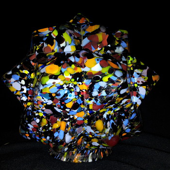 Czech Art Deco Glass Star Shade Globe    - Art Glass