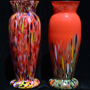 Two Kralik Deco Era spatter vases