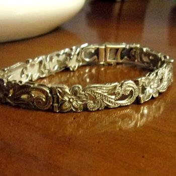 Etched Sterling Silver Bracelet - Art Nouveau