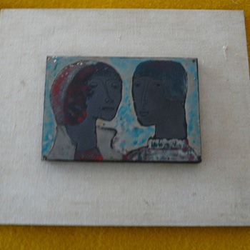 An Enamel Portrait of a Couple - Mid Century Modern