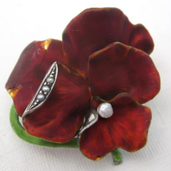 Meyle & Mayer sterling enamel pansy pin.