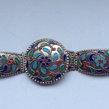 Silver Bracelet and brooch