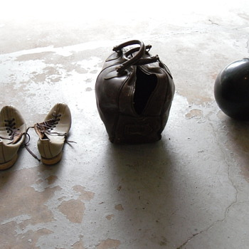 Leather Bowling Bag, ball, shoes.