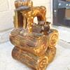 Glazed Pottery Bottle or Jug with Hunting Dog Logs Redware