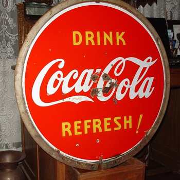 1940 Coca-Cola Porcelain Lollipop Sign - Coca-Cola