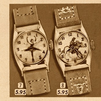 Ballerina and Ride Em Cowboy Character Watch - Wristwatches