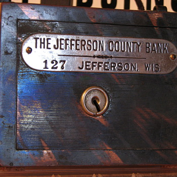 "Promotional Advertising Steel bank""Jefferson County Bank& The bank of Watertown""State of Wisconsin - Advertising"