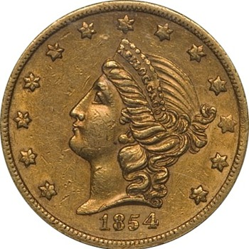1854 $20 Kellogg & Co., San Francisco, Double Eagle Gold Coin - US Coins