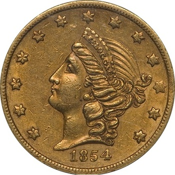 1854 Indian Princess Head Gold $3 - USA Coin Book